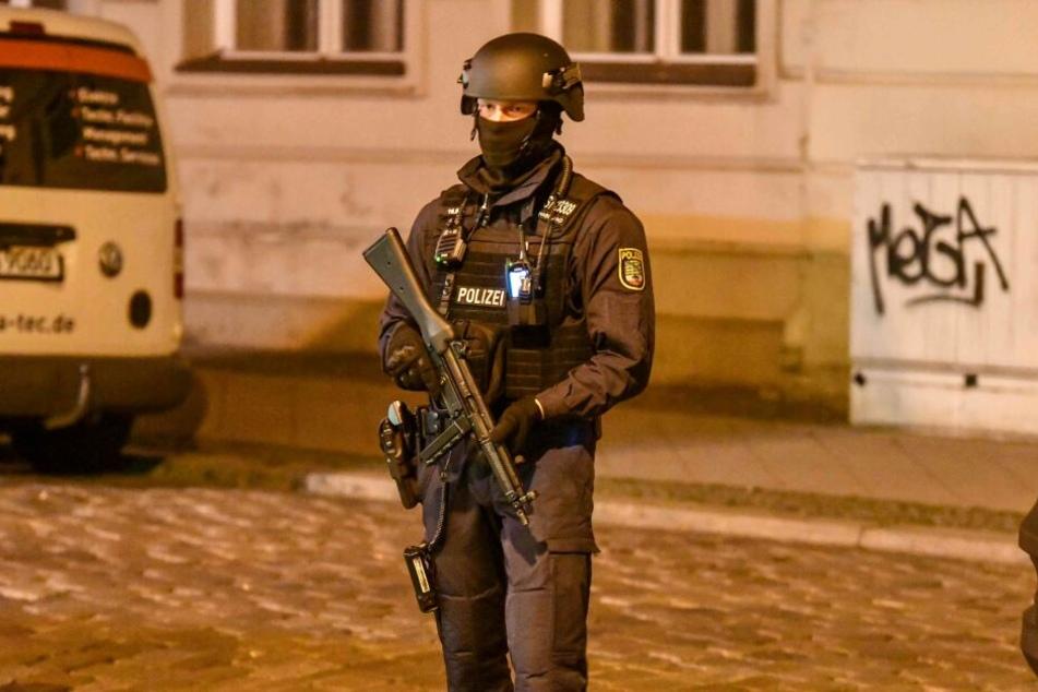 Großeinsatz der Polizei in Magdeburg.