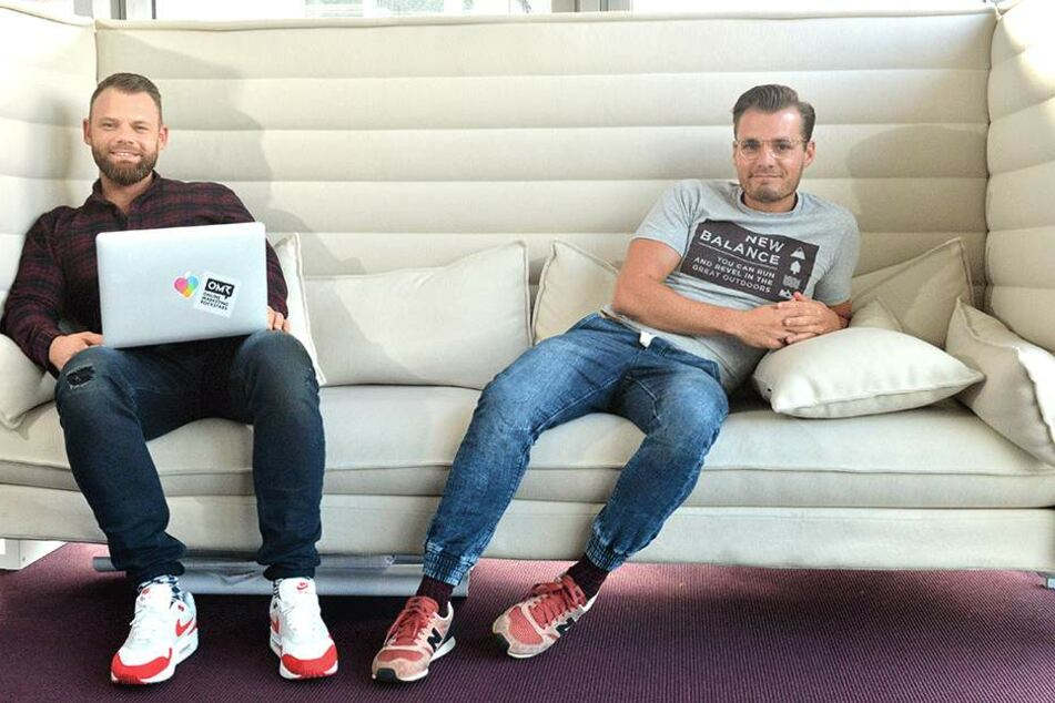 Lovoo-Marketingprofis: Eric Jangor (34, l.) und Tobias Börner (31).