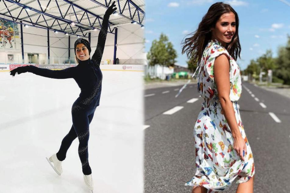 """Sarah Lombardi geht mit """"Holiday on Ice"""" auf Tour und trainiert bei den heißen Außentemperaturen nur zu gerne auf dem Eis."""