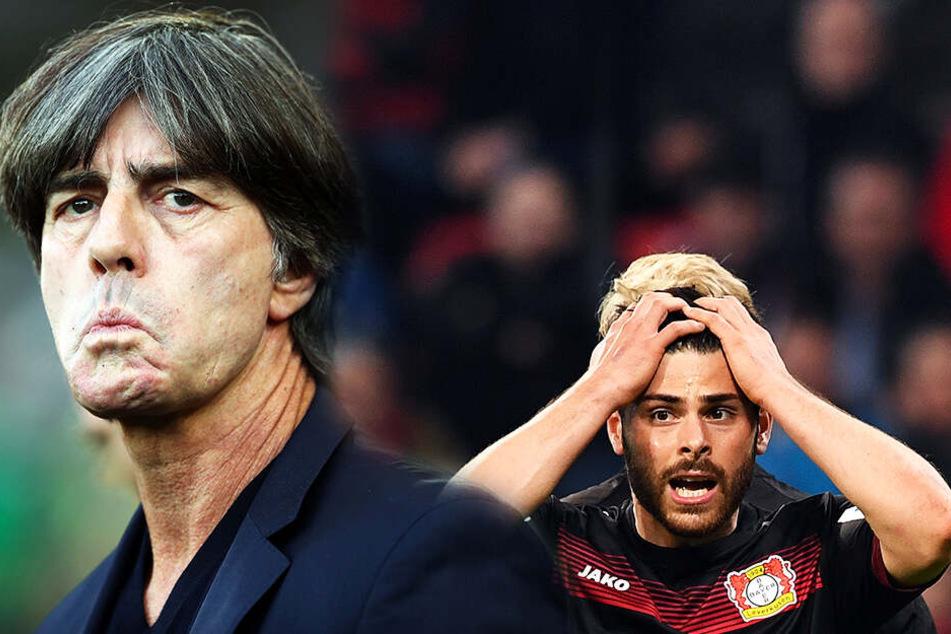 Bundestrainer Joachim Löw (l.) verzichtet seit fast drei Jahren auf eine Nominierung von Kevin Volland. (Bildmontage)