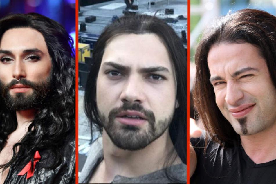 Conchita Wurst (29) in ihrem früheren Look, Jimi Blue Ochsenknecht (26) und Bülent Ceylan (42) könnten Geschwister sein.