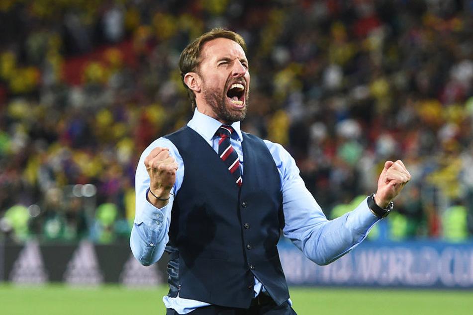 Was für eine Erleichterung: Als Spieler verschoss Gareth Southgate im EM-Halbfinale 1996 den entscheidenden Elfmeter gegen Deutschland, 2018 bereitete er als Trainer seine Mannschaft so gut auf das Elfmeterschießen vor, dass sie gewann.
