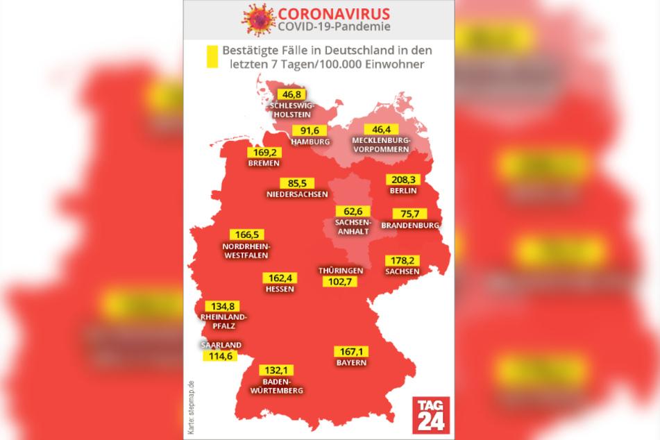 Die Karte zeigt die bestätigten Corona-Fälle in Deutschland in den letzten sieben Tagen/100.000 Einwohner.