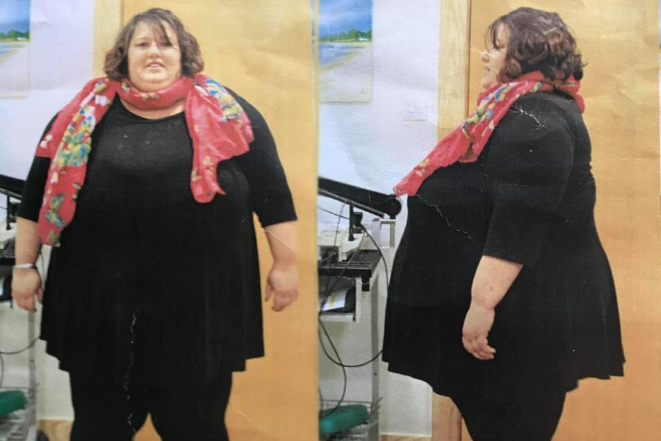 Sarah Priddice mit knapp 230 Kilogramm Körpergewicht (Bildmontage).