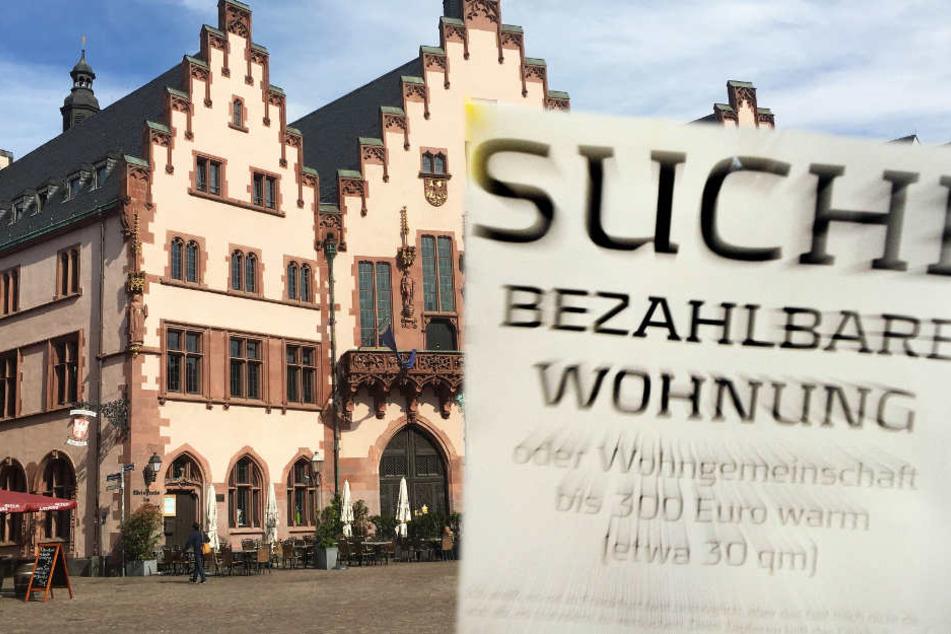 Die Suche nach günstigem Wohnraum in Frankfurt ist äußerst schwierig (Fotomontage).