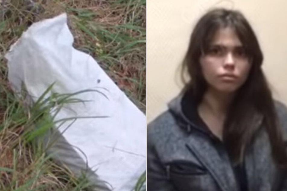 links: In dieser Tüte wurde das tote Baby gefunden. rechts: Viktoria Ajmitdinova wandert lebenslänglich ins Gefängnis.