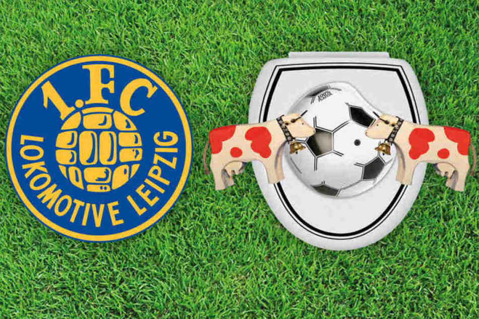 Was ist denn das da rechts auf dem Bild? So interpretiert Lok Leipzig das Logo von RB Leipzig.