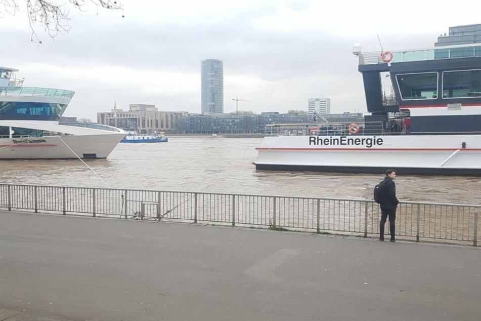 Der Rhein in Köln am Donnerstagmittag.