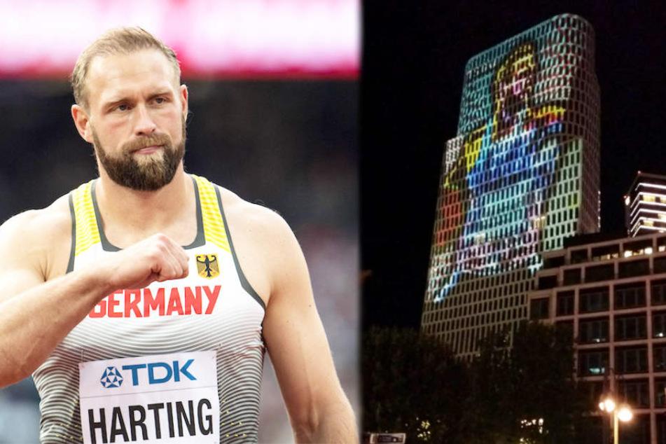 Diskus-Legende Robert Harting (33) beim Wettkampf und an der Berliner Hochhaus-Fassade.