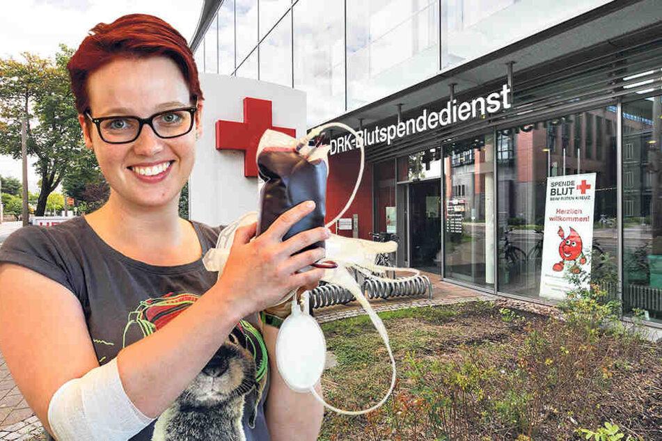 Spendete im Dresden-Urlaub zum 20. Mal Blut: Francine Solarek (31) wurde einst von ihrer Kommilitonin an der Fachhochschule Mittweida vom Blutspenden überzeugt.