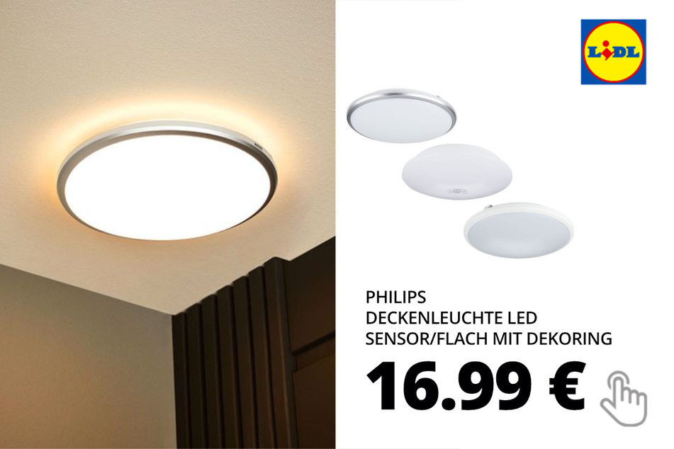 PHILIPS Deckenleuchte LED Sensor/ Flach mit Dekoring