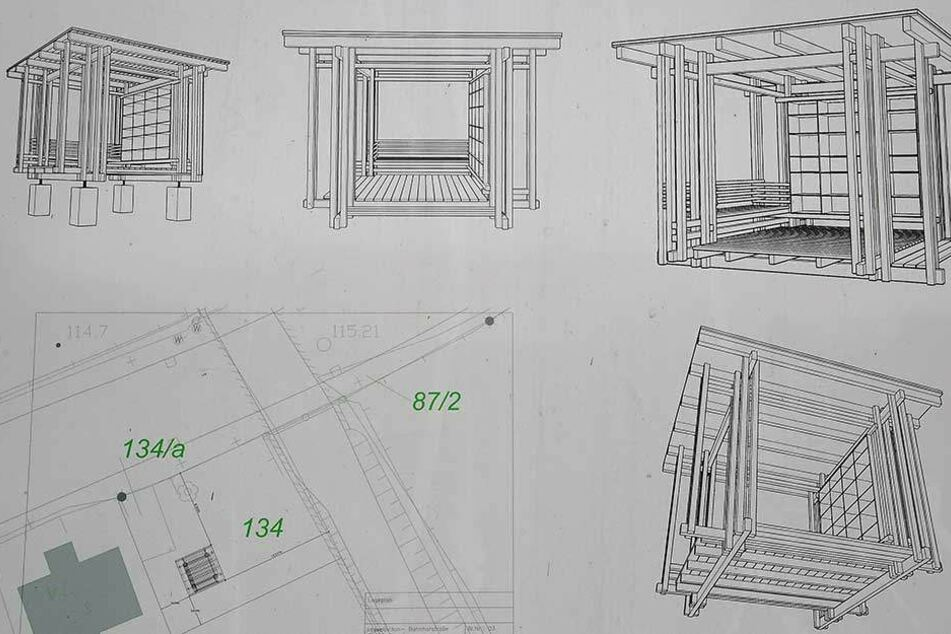 So soll der hölzerne Pavillon (circa vier Quadratmeter) mit Bücherschrank und Sitzecke aussehen.