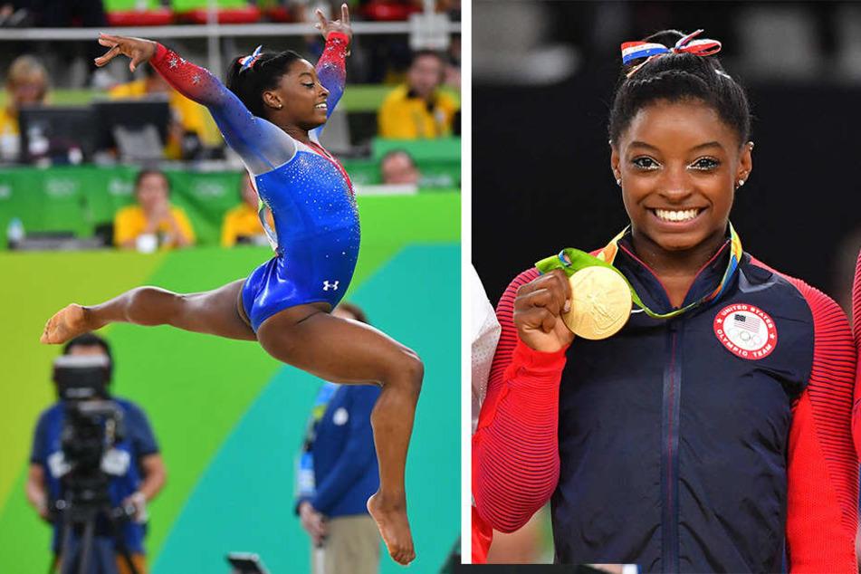 Simone Biles (19) macht derzeit offenbar nicht nur wegen ihres Erfolges bei Olympia Luftsprünge.