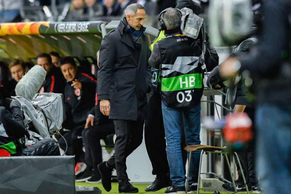 Beim Heimspiel gegen Inter wurde Hütter auf die Tribüne geschickt.