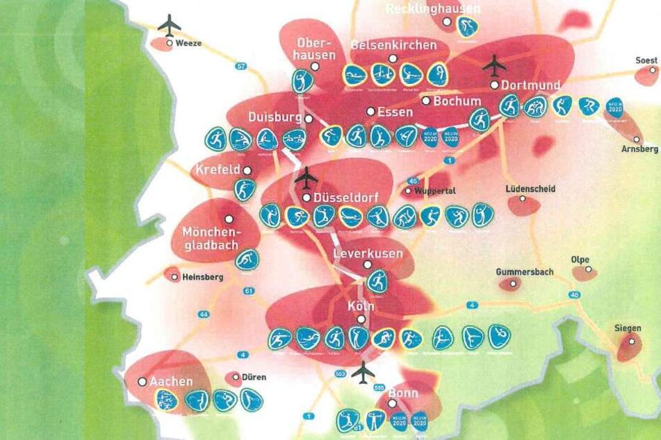 Die Karte zeigt die geplanten Austragungsorte der Initiative für Olympia 2032.