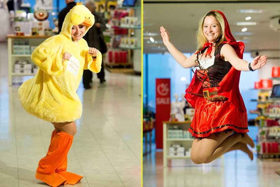Lass mich deine Badeente sein: Mandy Lesch (35) im Kostüm mit  Knuddelfaktor und als Rotkäppchen.