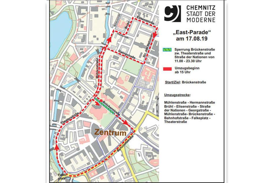 Die Parade ist auf der rotmarkierten Strecke unterwegs.