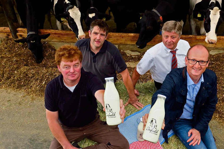 Reinhard Wortmann, Dennis Speckmann, Ralf Wiese und Oliver Speicher setzen voll und ganz auf den Milchautomaten.