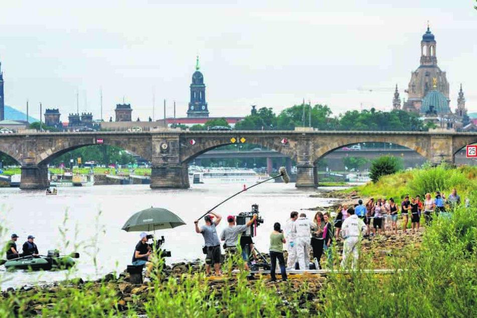 """""""Auge um Auge"""": Im September drehte das Tatort-Team den jüngsten  Dresden-Krimi - natürlich auch an der Elbe."""