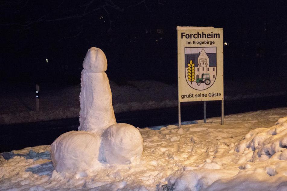 Ein knapp zwei Meter hoher Penis steht an der B101 in Forchheim.