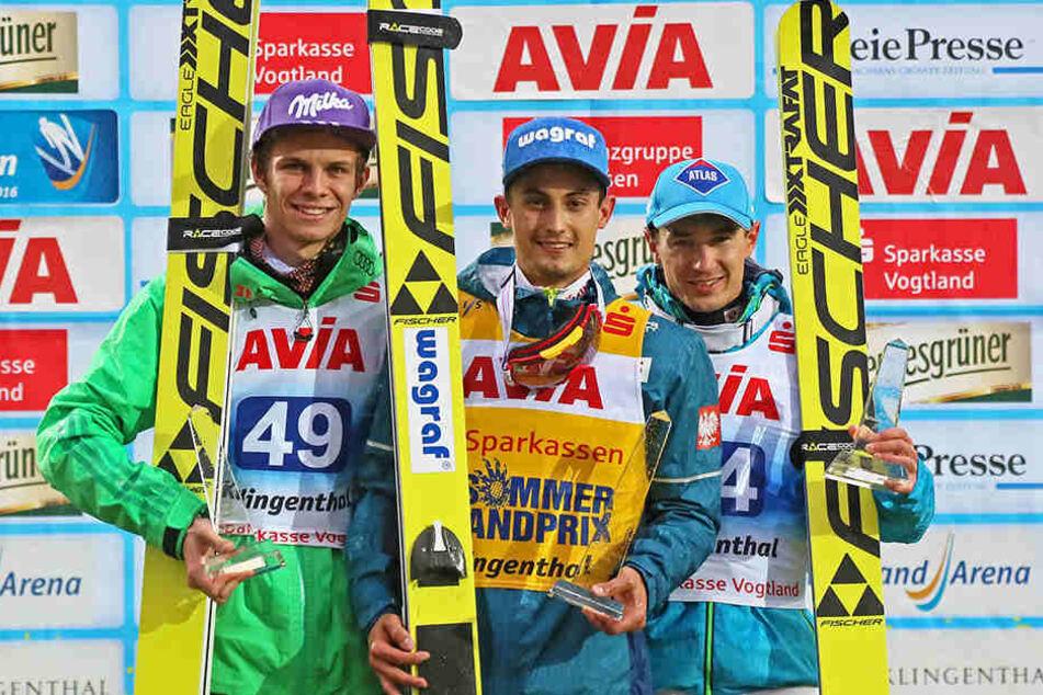 Die drei Sieger im Gesamt-Weltcup: Andreas Wellinger, Maciej Kot, Kamil Stoch.