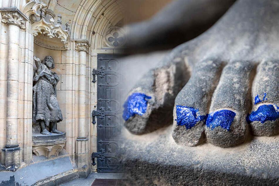 Moses braucht 'ne Pediküre! Fußnägel an Figur beschmiert