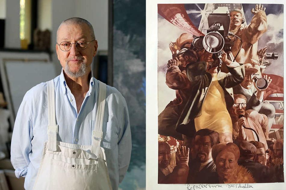 Zuletzt wurde das Gemälde des Künstlers Arno Rink (l.) gesehen, als es in den Rat des Bezirks gebracht wurde. Das ist 50 Jahre her.