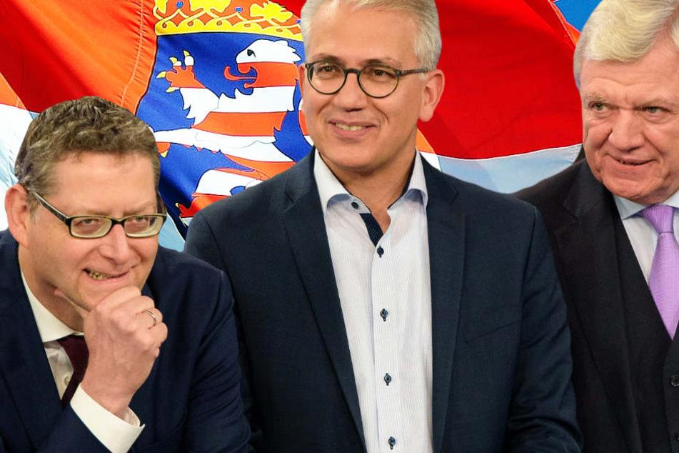 Thorsten Schäger-Gümbel (l., SPD), Tarek Al-Wazir (Grüne) und Volker Bouffier (r., CDU) müssen sich nun mit dem hessischen Wahlergebnis auseinandersetzen.