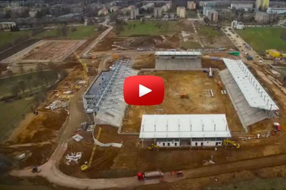 Rundflug über Zwickauer Stadion-Baustelle