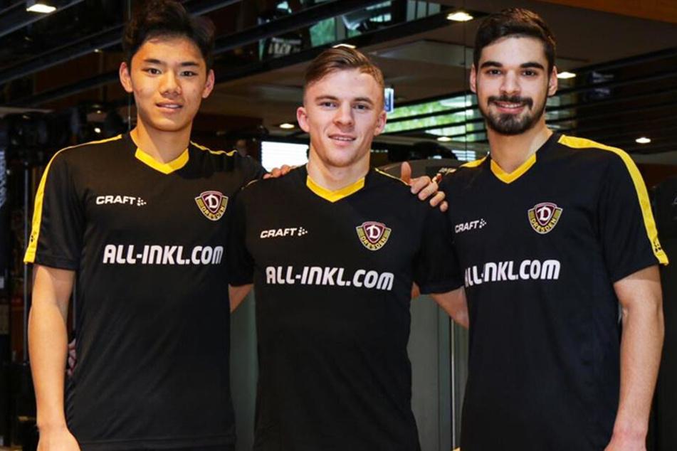 Die Talente (v.l.) Eunsa Jeong, Justin Jacob und Luca Shubitidze trafen am Samstag im Dynamo-Camp ein.