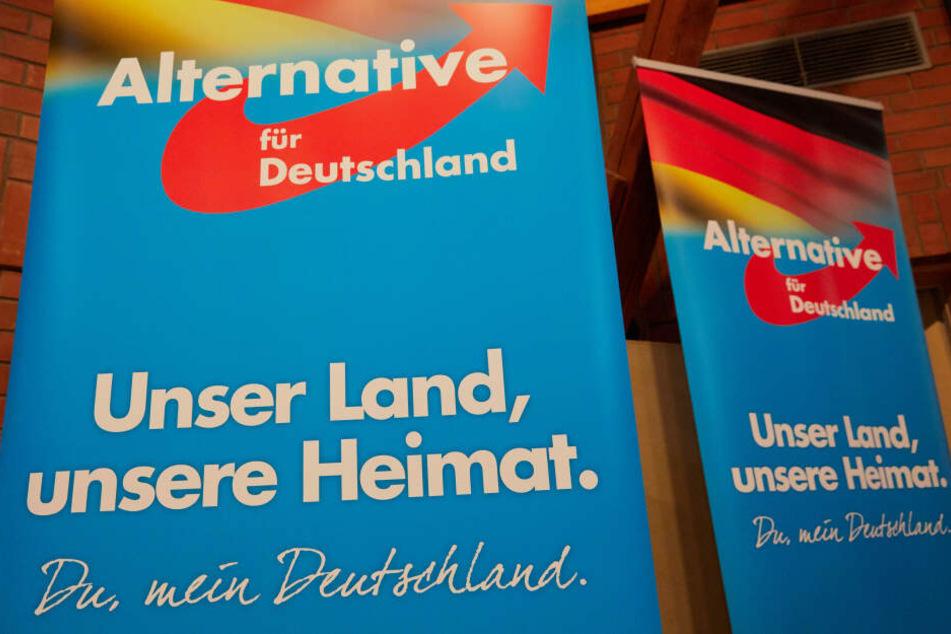 """Zwei Poster mit der Aufschrift """"Unser Land, unsere Heimat. Du, mein Deutschland"""", aufgenommen auf einem AfD-Landesparteitag in Henstedt-Ulzburg (Schleswig-Holstein)."""