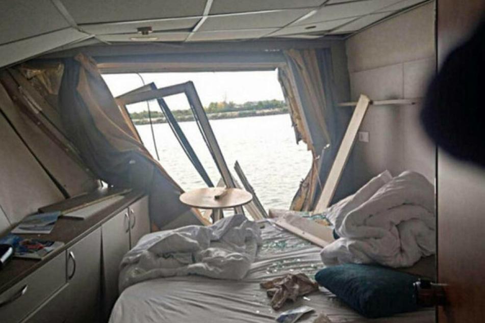 Diese Kabine wurde durch den Zusammenstoß komplett aufgerissen.