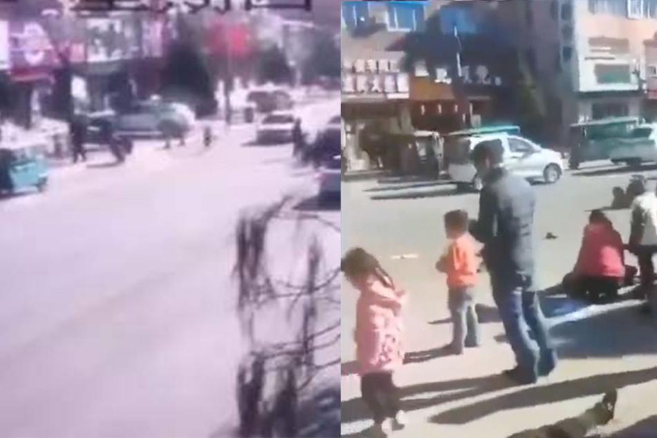 Videoaufnahmen einer Überwachungskamera, die in sozialen Netzwerken geteilt wurden, zeigten ein dunkles Auto, das in die Kindergruppe fuhr.