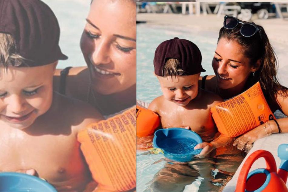 Aber lieb haben sie sich natürlich doch: Alessio und Mama Sarah.