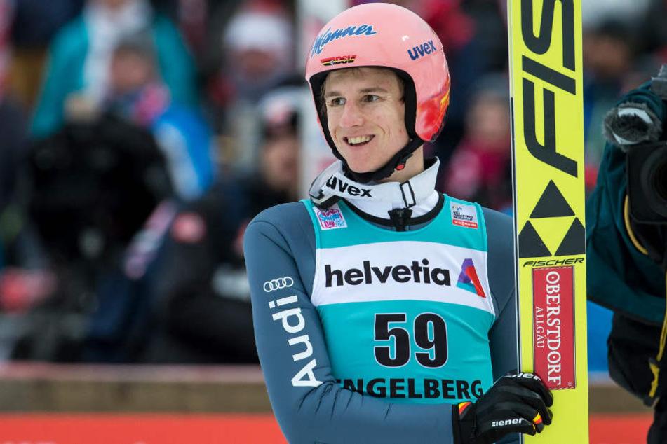 Karl Geiger feierte in Engelberg seinen ersten Weltcup-Sieg.