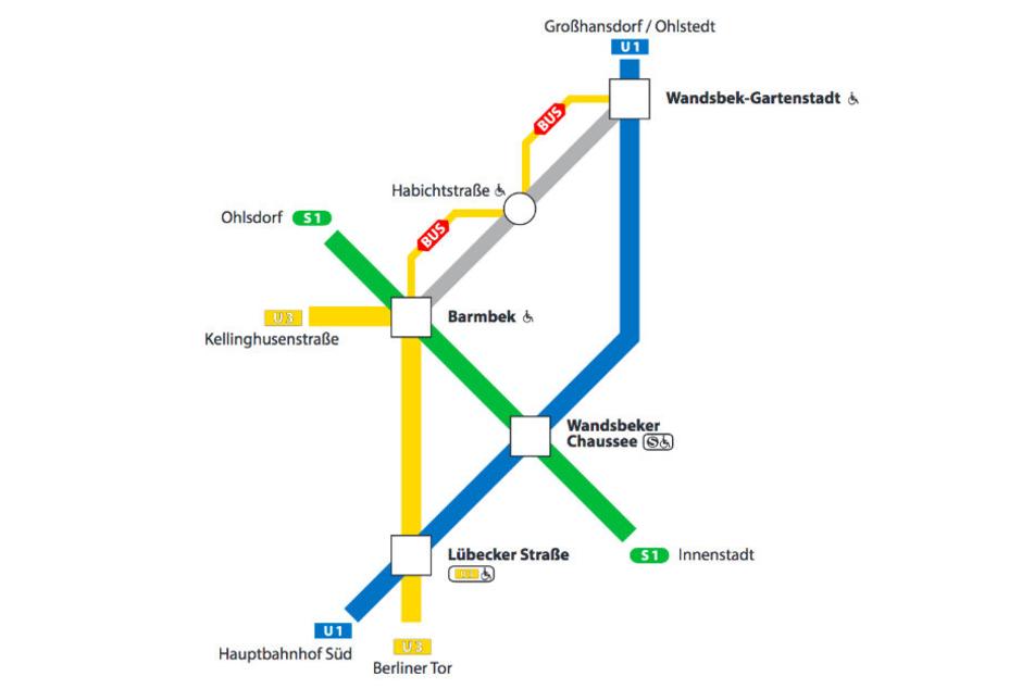 Zwischen Barmbek und Wandsbek-Gartenstadt fahren am Wochenende keine Züge.