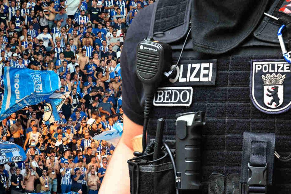Im Anschluss an das 0:3 der Berliner am Sonntagabend kam es zu einer Auseinandersetzung zwischen Hertha-Fans und Polizei. (Bildmontage)
