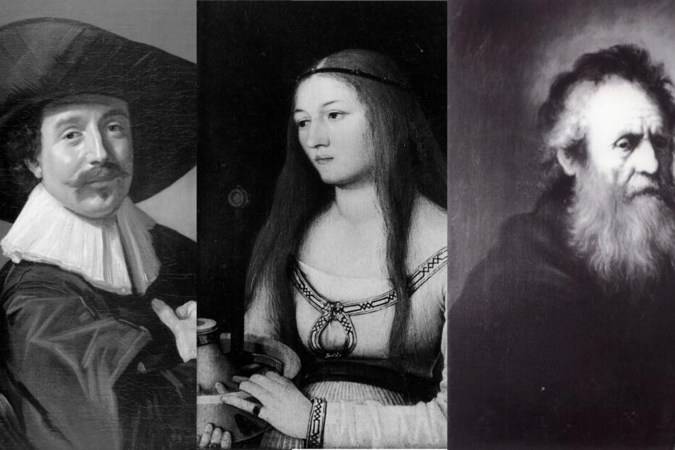 """Diese Bilder wurden 1979 gestohlen: (v.li.) """"Brustbild eines Unbekannten Herrn mit Hut und Handschuhen"""" von Frans Hals, """"Heilige Katherina"""" von Hans Holbein und das Gemälde """"Alter Mann"""" von Jan Lievens."""
