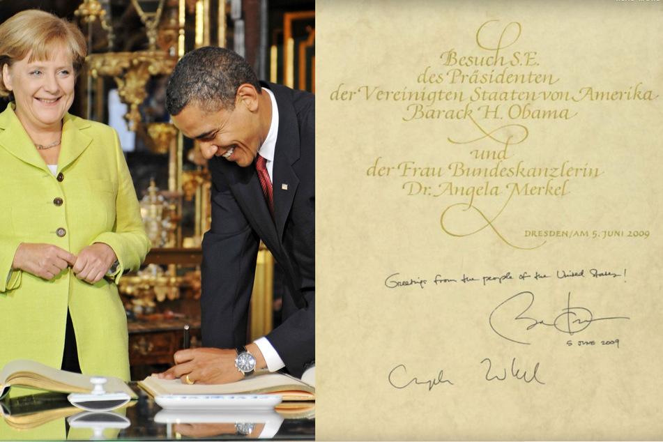 Sparsam: Angela Merkel und Barack Obama teilten sich 2009 eine Buchseite. (Bildmontage)