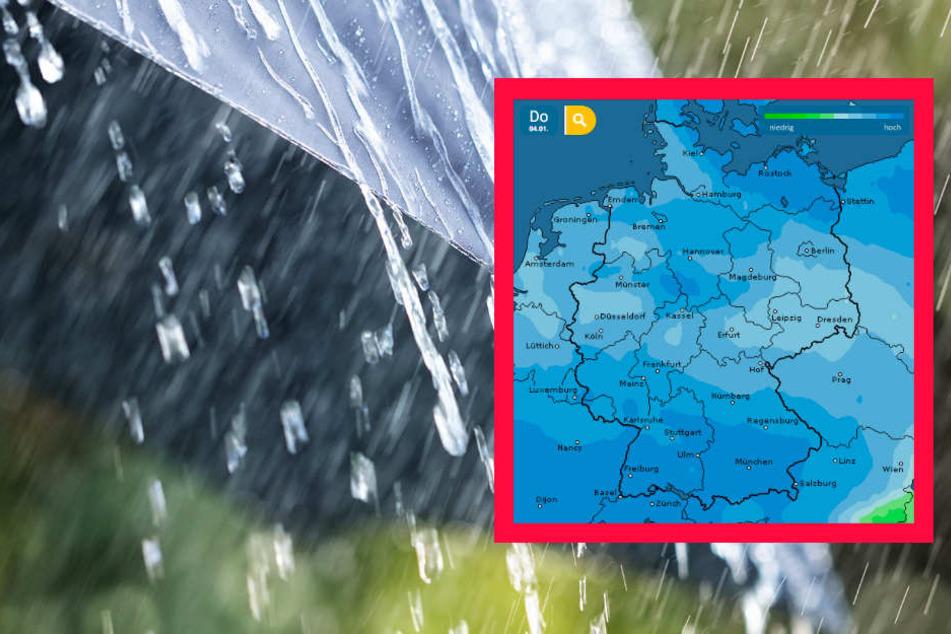 Auch der Dienst wetteronline.de (Grafik) sagt für ganz Deutschland ein hohes Niederschlagsrisiko voraus.