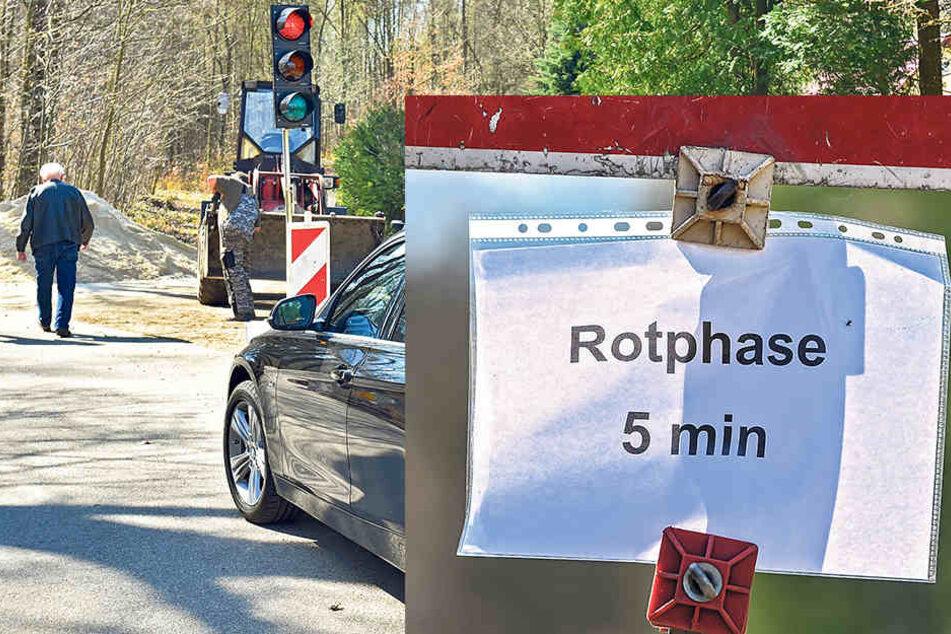 Damit keiner denkt, die Ampel sei defekt, warnt dieser Zettel vor dem langen Rot.