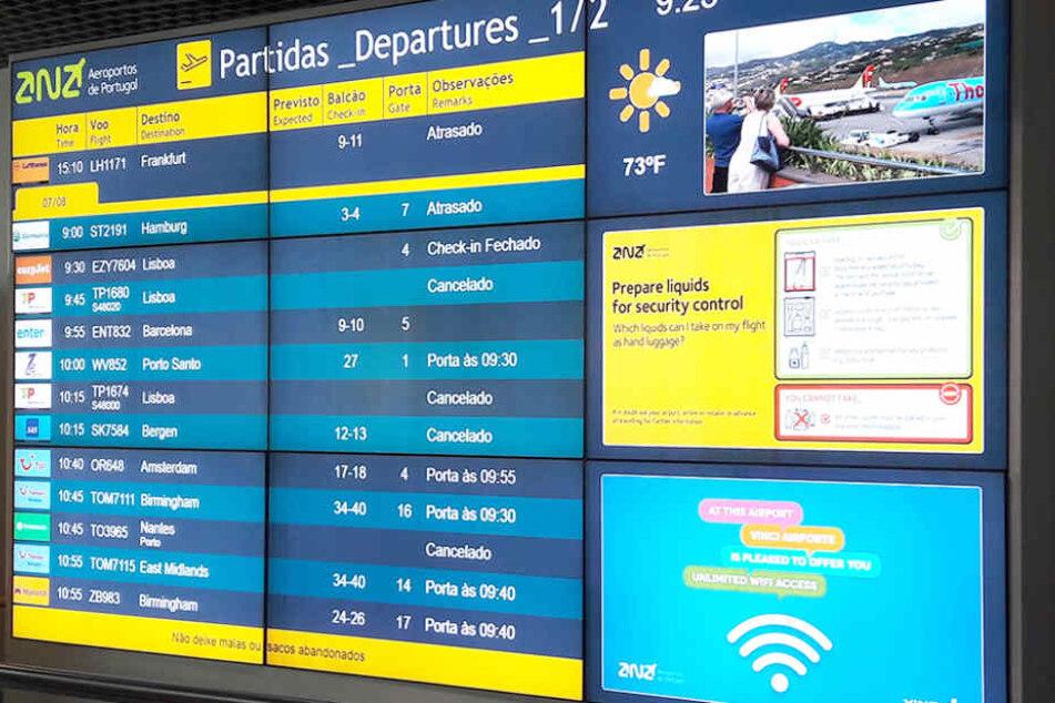 Heftige Winde sorgen dafür, dass zahlreiche Flieger nicht von Madeira starten können.