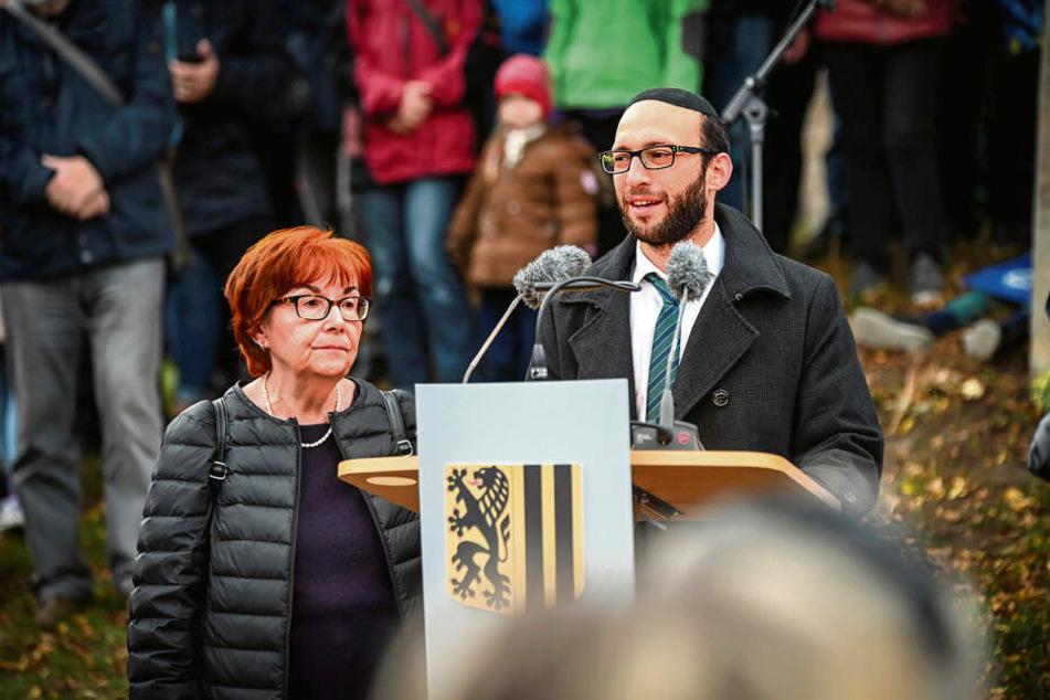 Nora Goldenbogen (70) und der Rabbiner Akiva Weingarten (34) dankten den Dresdnern für ihre Unterstützung.