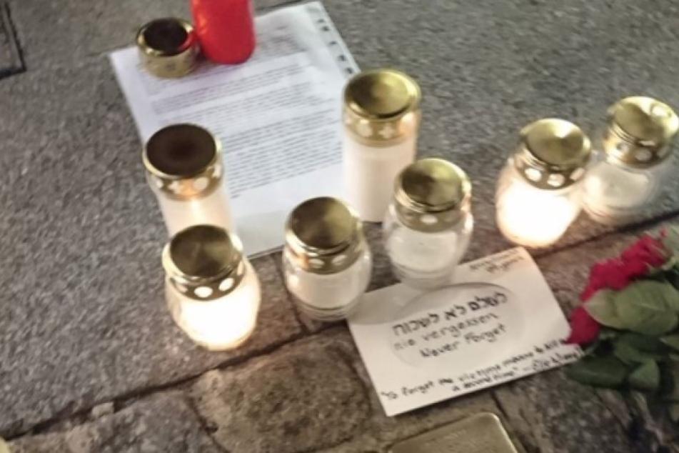 Polizist verbietet Aufstellen von Gedenkkerzen für Opfer der Reichspogromnacht