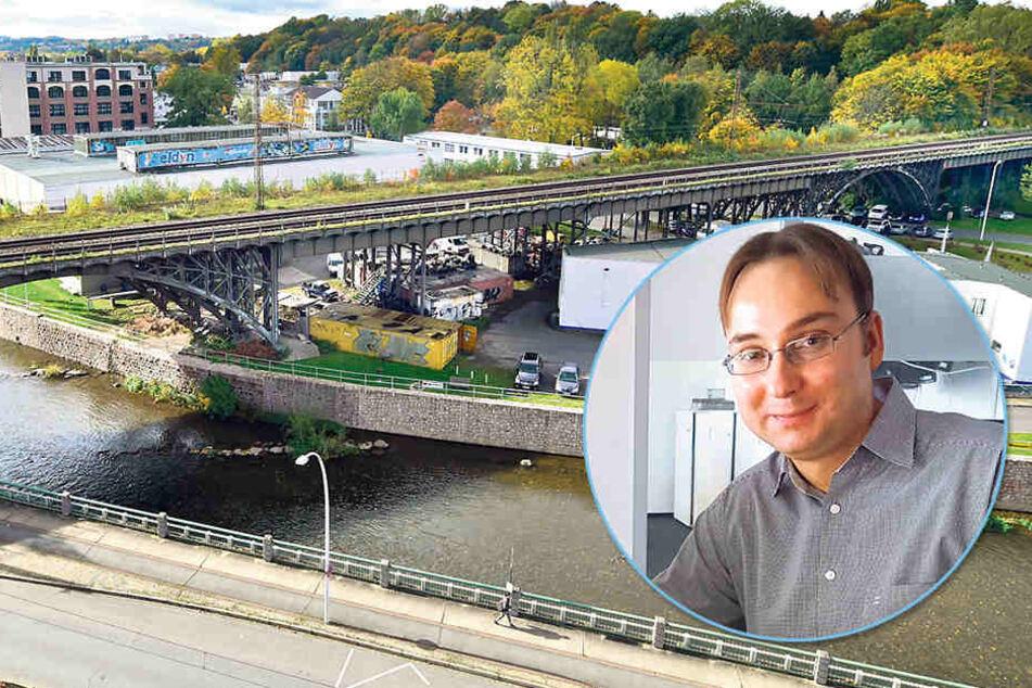 Seit mehr als drei Jahren wird über die Zukunft des Eisenbahnviadukts diskutiert. Historiker Sandro Schmalfuß (38) ist sauer, weil wichtige Unterlagen  fehlen.