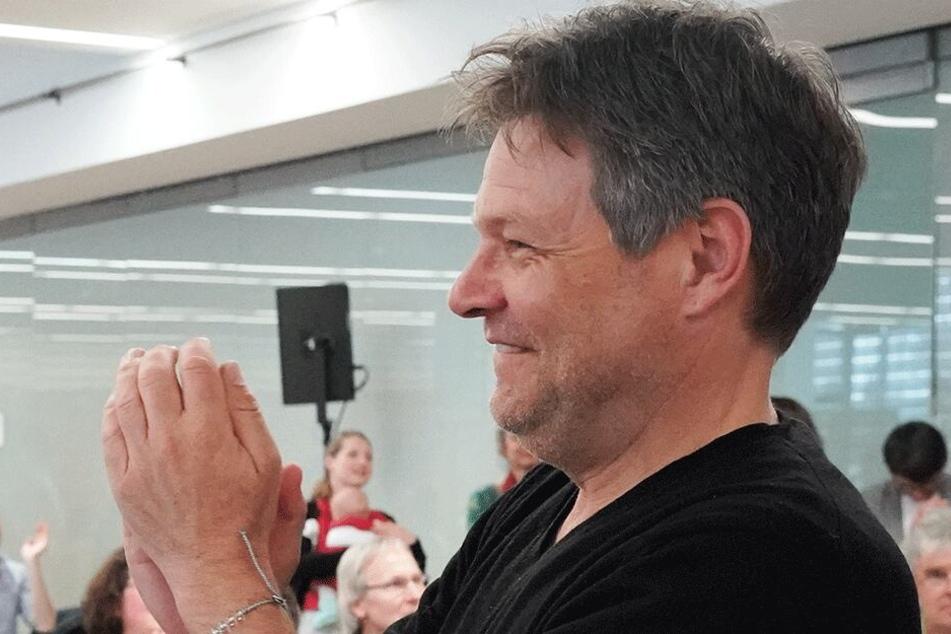 Grünen-Chef Robert Habeck (49) am Samstag auf dem Landesparteitag der Grünen in Sachsen.