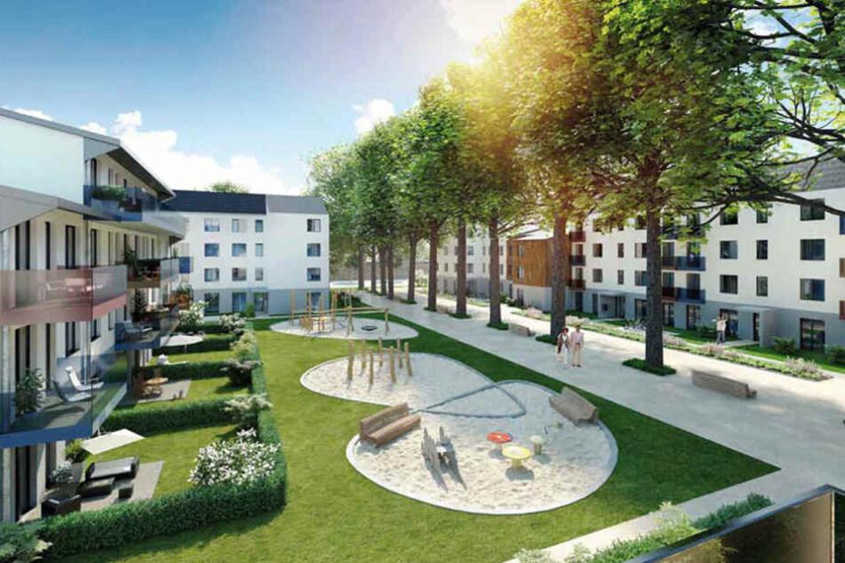 So sollen die Häuser künftig aussehen. Ein Großteil der Kastanien bleibt  erhalten.