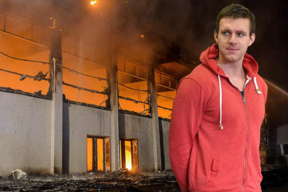 Ex-NPD-Politiker Maik Schneider (31) soll an dem Brandanschlag in Nauen beteiligt gewesen sein (Bildmontage)
