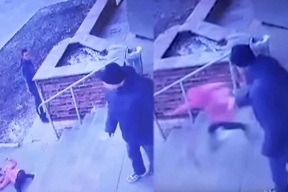 Schockierendes Video: Vater stößt Tochter (6) brutal die Treppe runter und hat dreiste Ausrede