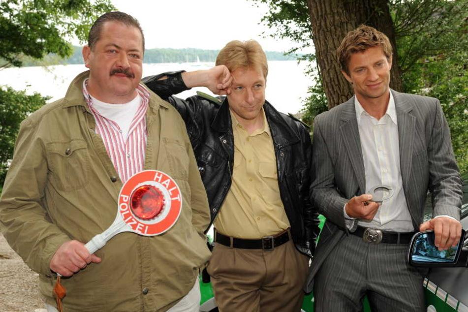 """17 Jahre lang """"Rosenheim-Co: Joseph Hannesschläger (als Korbinian Hofer, l-r) an der Seite von Max Müller (als Michael Mohr) und Igor Jeftic (als Sven Hansen)."""